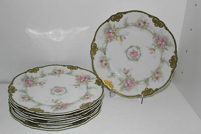 """6 Antique Theodore Haviland Limoges France 8-7/8"""" Plates-Burley &company Chicago"""
