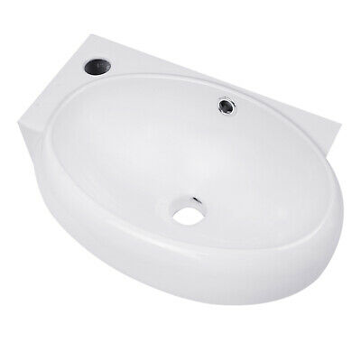 Small Compact Bathroom Sink Wall Mount Cloakroom Hand Basin White Ceramic Bowl