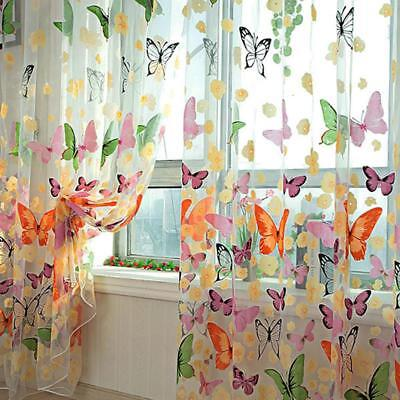 Modern Romantic Butterfly Print Yarn Tulle Curtain For Living Room Window Decor