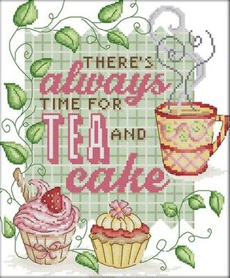 Tea and Cake (Green) 14CT counted cross stitch kit. Craft brand new