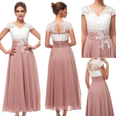 CHIFFON LACE FORMAL Mother Of The Bride Dress Tea Length Wedding ...