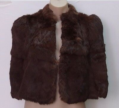 Vintage Rich Brown Fur Short Capelet Jacket, Small, Preowned In Vg Cond
