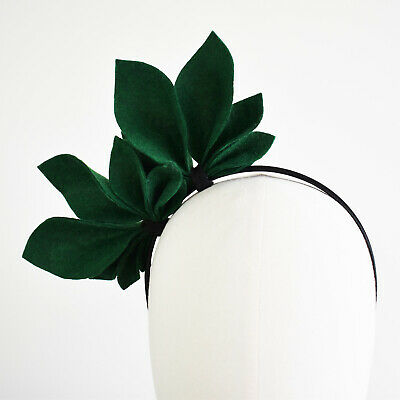 Green Fascinator Abigail Felt Side Crown Races Headpiece Horse racing Headband