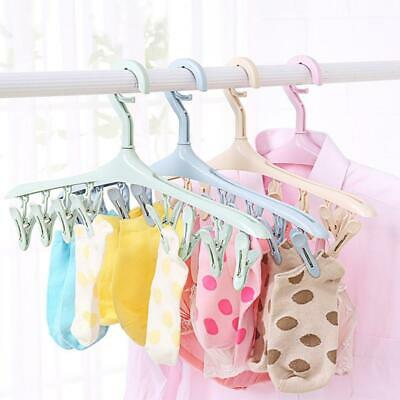 Plastic Hanger Hook 8 Clips Airer Drying Rack For Underwear Sock Clothes C1MY