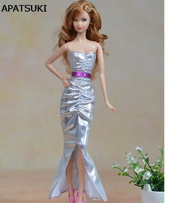 "High Quality Elegant Silver Long Dress For 11.5"" Doll Clothes For 1/6 Doll Toy"