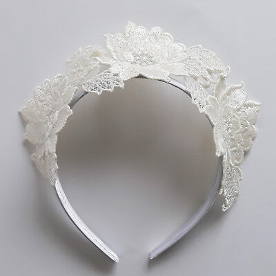 White Fascinator Flower Crown Kareena Lace Headband Races Headpiece