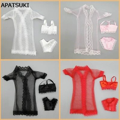 """4sets Pajamas Lingerie Nightwear Lace Coat Bra Underwear Clothes For 11.5"""" Doll"""