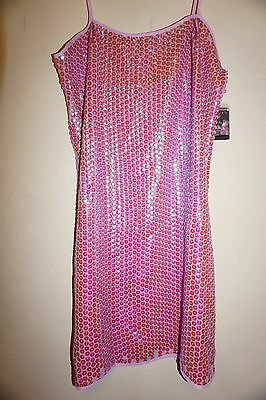 Free People with Anna Sui mini dress sz XS all over pink iridescent sequins  NWT 8387ca82f3e8f