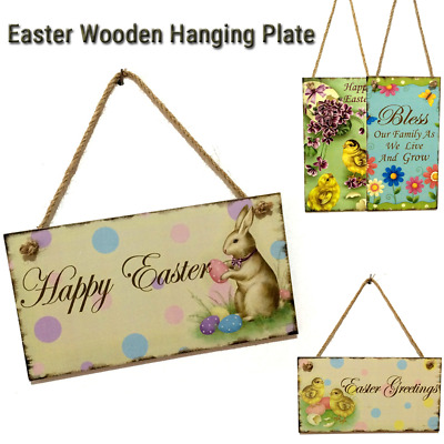 1 Pcs Wooden Listed Easter Rabbit Pattern Greeting Sign Hanging Door Decor  C2N8