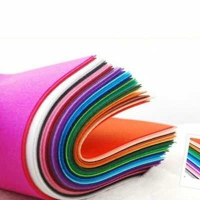 40pcs 15x15cm Non Woven Felt Fabric 1mm Crafts Dolls Sewing For Bundle DIY Felts