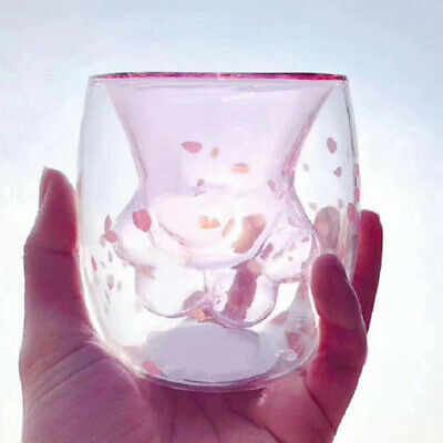 Cherry Blossom 6oz Pink Cat Claw Double Glass Starbucks Limited Edition Cup 2019