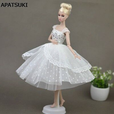 "Pure White Doll Dresses Clothes for 11.5"" Doll Elegant Lady Evening Dress Toy"
