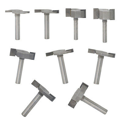9Pcs 1/4'' Shank T-slot Slotting Router Bit Woodworking Cutter