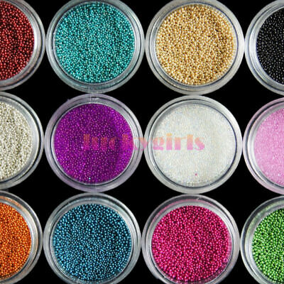 Decoration mini Beads Caviar Balls UV Colors 3D 12 Micro Nail Art Acrylic Pots