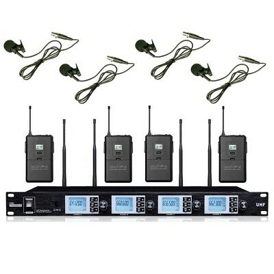Professional Wireless Microphone Lavalier 4 Channel UHF Lapel Microphone System