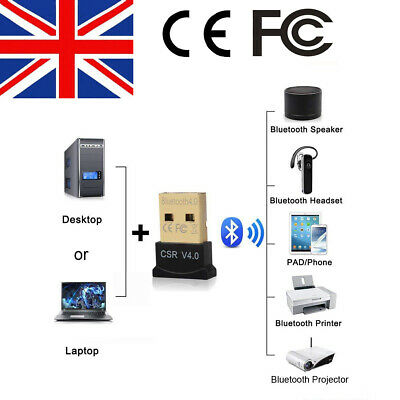 USB Bluetooth V4.0 CSR Wireless Mini Dongle Adapter For Windows 7 8 10 PC Laptop