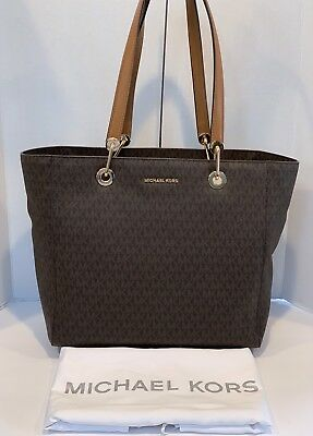 2915224d2441 MICHAEL KORS RAVEN Signature Logo Large Shoulder Tote Bag (Black ...
