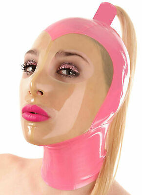 Rubber Unisex Mask Hood Gummi 0.4mm With Tails for Party Bodysuits