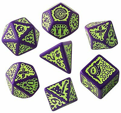Games Q WORKSHOP Pathfinder Rpg Goblin Purple & Green Ornamented Dice Set 7 Polyhedral Pieces Toys & Games