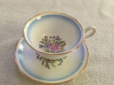 "ROYAL ALBERT ""LAVENDER FLOWER And Blue  Bow  Footed Tea Cup & Saucer"