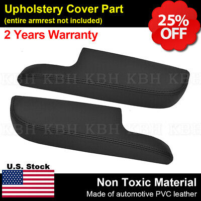 2pcs Door Panel Armrest Cover Synthetic Leather For Dodge Charger 11-19 Black