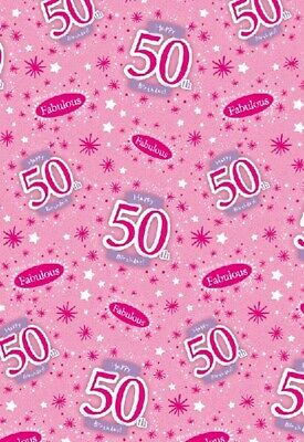 2 Sheets Gift Wrapping Paper HAPPY 50th BIRTHDAY 50 Today Pink Ladies Female