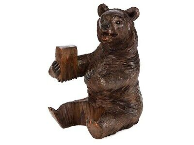 c1895 Black Forest Carved Wooden Seated Bear Ornament