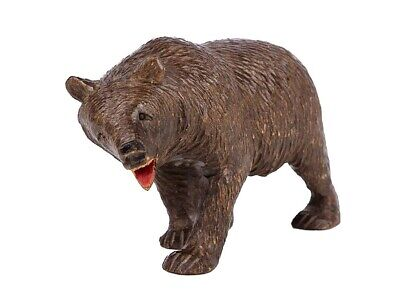 c1890 Black Forest Carved Wood Ambling Bear Ornament