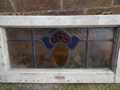 Antique Stained Glass Window, With Wooden Frame, Yellow/Blue/red, Old