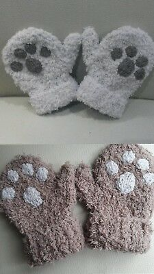Super soft paw print mittens size 1-2 years