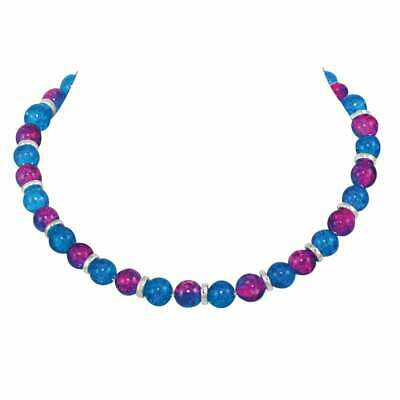 Dominica Blue and Fuchsia Pink Crackle Glass Bead Silver Tone Necklace