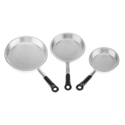3pc Dolls House Miniature Kitchen Accessory Metal Frying Pan Cookware Silver