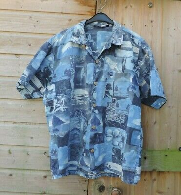 85f72b05 Mens VINTAGE 90s QUIKSILVER Blue HAWAIIAN SHIRT Size L UGLY festival stag