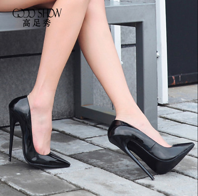16CM Womens Stilettos High Heel Patent Leather Pointed Toe Shoes Pumps Sexy Club