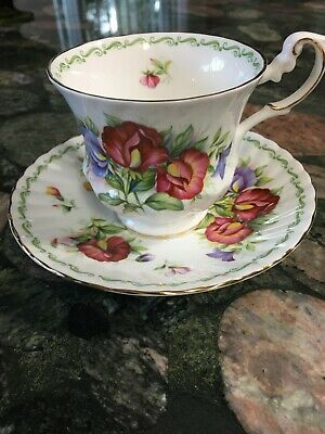 Queens Rosina Fine Bone China Cup and Saucer China Co. Ltd Sweet Pea