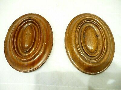 Antique Pair Edwardian French Small Oval Decorative Plaque Architectural Fitting