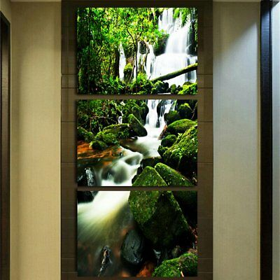 Hd Printed Forest Waterfall Canvas Art Decor Print Poster