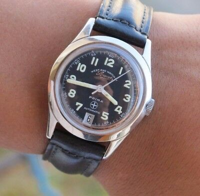 VINTAGE WEST END WATCH CO SOWAR PRIMA AUTOMATIC CAL 2824 MILITARY 34mm SERVICED
