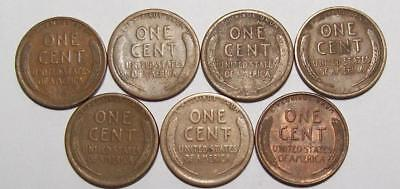 Lot of 7 Early LINCOLN CENTS All Nice Circs  Includes 1913-S 1916-S    #19B61
