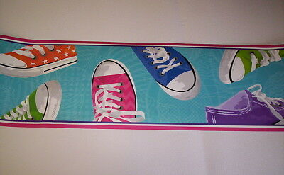 Converse Style Kids Sneakers Prepasted Wallpaper Border Bs5364bd