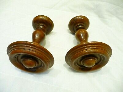 Antique Edwardian Pair French Wooden Curtain Tie Backs/Curtain Pole Finials Old