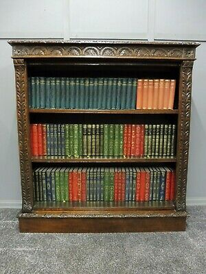 Antique Carved Oak 19Th Century Bookcase