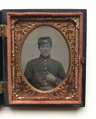 Devoted 1860s Civil War Soldier Tintype Photo Sixth Plate Armed Soldier With Hardee Hat Militaria
