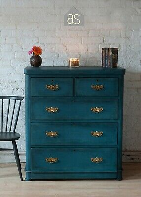 Large Edwardian Chest of 5 Drawers in dark blue with brass detailing (83)