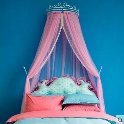 European Queen Pink Yarn Ceiling Type Mosquito Net Bed Canopy Bed Curtain#