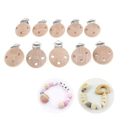 2/10pcs Baby Pacifier Clips Wood Metal Holders Cute Infant Soother Clasps 2 Size