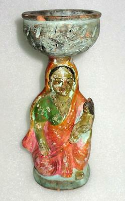Antique Old Hand Made Terracotta Primitive Tribal Folk Art Lady With Boy Statue