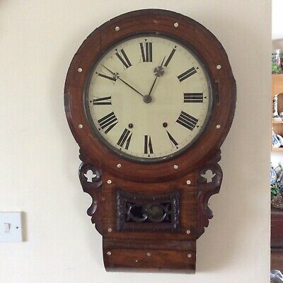 Antique Fussee Wall Clock Inlaid With. Mother Of Pearl