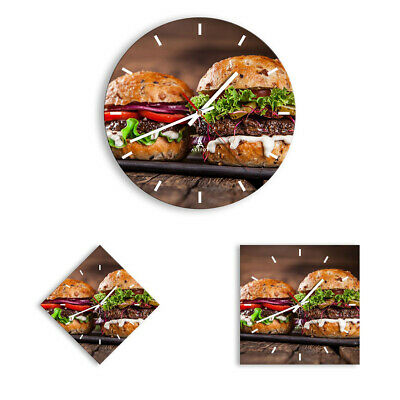 WALL CLOCK - CLOCK ON GLASS American hamburger food bACbecue 2869 UK