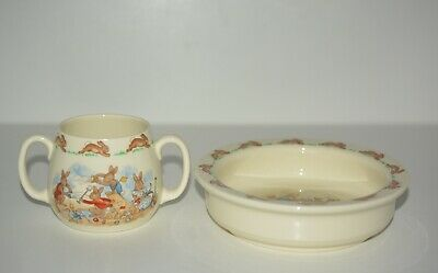 Royal Doulton Bunnykins 2 Pc Child's Bowl & Double Handled Cup, England